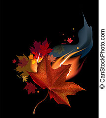 leaf in fire - Realistic brown autumn maple leaf in fire on ...