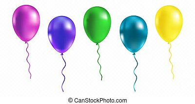 Realistic bunch of glossy flying helium balloons. Premium quality vector illustration.