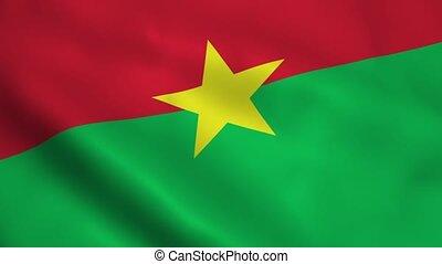 Realistic Burkina Faso flag waving in the wind. Seamless looping.