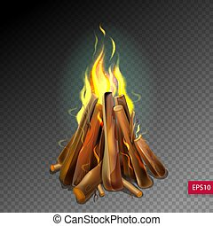 realistic burning bonfire with wood on transparence background, vector illustration