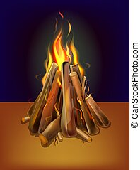 realistic burning bonfire with wood, vector illustration