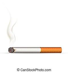 Realistic burning cigarette. Illustration on white background