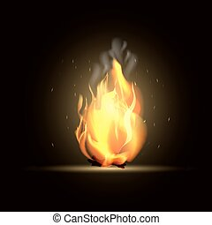 Realistic burning fire flame. Vector illustration