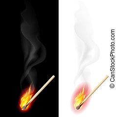 Realistic burning match. Illustration on white and black ...