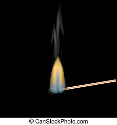 Realistic burning match. Match flame. The structure of the wood. Graphical element for documents, templates, posters and leaflets. illustration