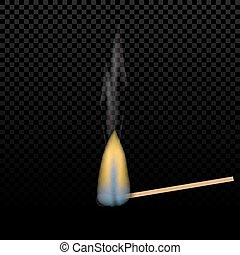 Realistic burning match on a gradient background. flames. The tree structure. Graphical element for documents, templates, posters and leaflets. illustration