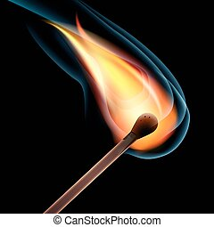 Realistic burning match. Open flame. Vector Illustration, EPS10.