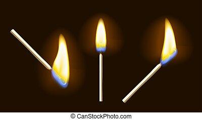 Realistic burning match set