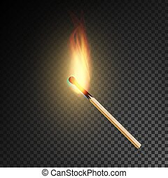 Realistic Burning Match Vector. Burning Match On...