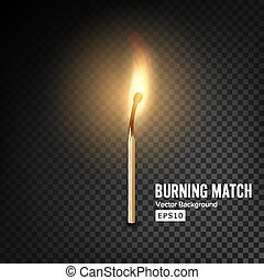 Realistic Burning Match Vector. Burning Match On Transparency Grid Background
