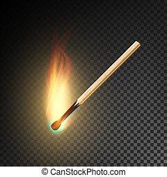 Realistic Burning Match Vector. Burning Match On...