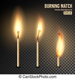 Realistic Burning Match Vector. Matchstick Flame. Transparency Grid. Special Effect. Ready To Apply. Graphic Element For Documents, Templates, Posters, Flyers. Vector illustration