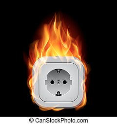 Realistic burning socket. Illustration on white background...