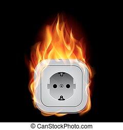 Realistic burning socket. Illustration on white background...