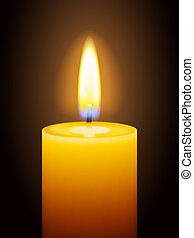 Realistic burning yellow candle on dark background