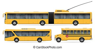 Realistic buses vector illustration