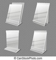 Realistic business information transparent plexiglass empty ...