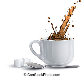 Realistic caffee. Vector design.