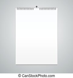 Realistic Calendar Template Blank. Vector