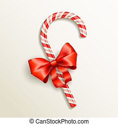candy cane with red bow - realistic candy cane with red bow...