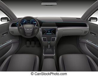 Realistic car interior with rudder, dashboard front panel and auto windshield vector illustration