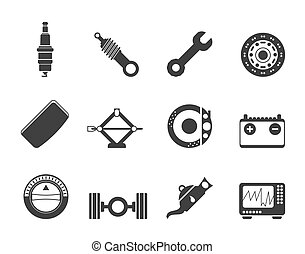 Realistic Car Parts and Services ic - Silhouette Realistic...