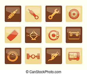 Realistic Car Parts and Services icons over brown background...