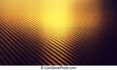 Realistic carbon gold fiber texture pattern background seamless motion loop. 3D animation