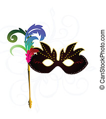 Realistic carnival or theater mask - Vector realistic...