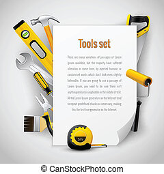 Realistic carpenter tools background frame with hammer saw...