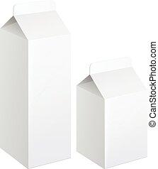 Realistic carton of milk.