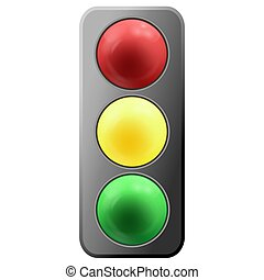Realistic cartoon traffic lights icon isolated on white