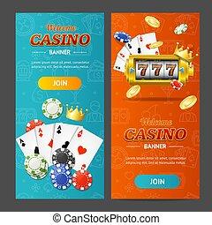 Realistic Casino Banner Vertical Set. Vector