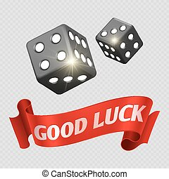 Realistic casino dice and red good luck banner