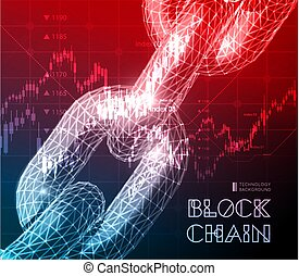Realistic chain made from line and dot connection. Triangular design. Block chain concept. Vector illustration for the concept of networking or teamwork