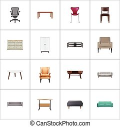 Realistic Chair, Sofa, Worktop And Other Vector Elements....