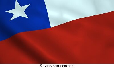 Realistic Chile flag waving in the wind. Seamless looping.