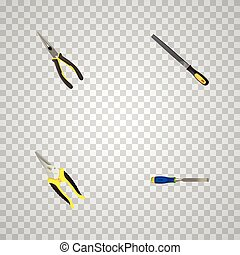 Realistic Chisel, Nippers, Scissors And Other Vector Elements. Set Of Instruments Realistic Symbols Also Includes Carpenter, Chisel, Long Objects.