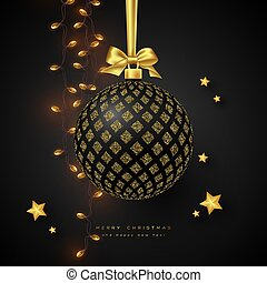 Realistic Christmas black bauble.