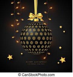 Realistic Christmas black bauble.