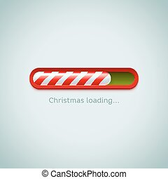 Realistic christmas candy cane progress bar on light background.