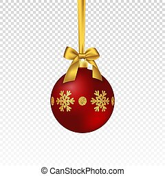 Realistic Christmas red bauble.