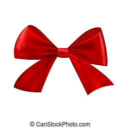 Realistic Christmas red bow isolated on white background