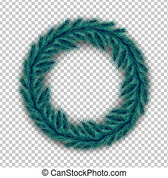 Realistic Christmas wreath of pine spruce branches with shadow on a transparent background. Vector