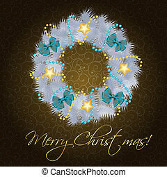 Realistic christmas wreath on vintage background vector illustration