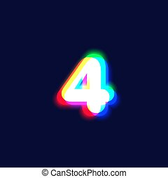Realistic chromatic aberration character '4' from a fontset...