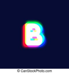 Realistic chromatic aberration character 'B' from a fontset...