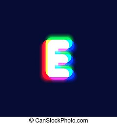 Realistic chromatic aberration character 'E' from a fontset...