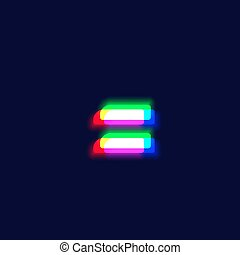 Realistic chromatic aberration character 'equal' from a ...