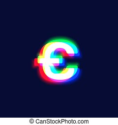 Realistic chromatic aberration character 'euro' from a ...